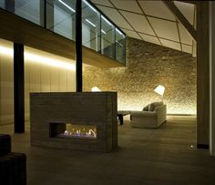 The fire place separates the rooms.  Kind of cool. Would it be easy to install??  Hmmm