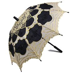 Black/Gold Battenburg lace parasol, Also available in many colors at  www.parasolheaven.com