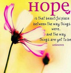 hope is that beautiful place between the way things were and the way things are yet to be.
