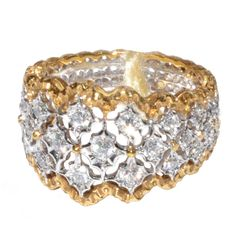 Mario Buccellati Diamond and Gold Band Ring   sz 6.5 | From a unique collection of vintage band rings at http://www.1stdibs.com/jewelry/rings/band-rings/