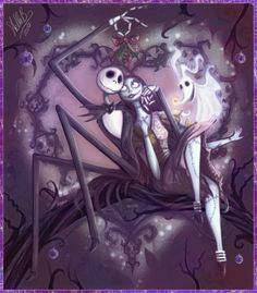 & Nightmare Before Christmas& - Jack Skellington (aka & Pumpkin King& Sally and Zero- created by Tim Burton Arte Tim Burton, Tim Burton Kunst, Tim Burton Films, Jack Skellington, Sally Nightmare Before Christmas, Disney Fan Art, Disney Love, Disney Couples, Jack E Sally
