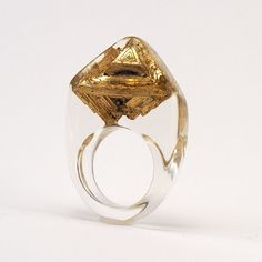 Clear resin ring with Bismuth Gold Resin Ring Resin by sisicata