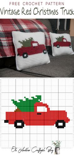 Free crochet pattern for the Vintage Red Christmas Truck, # . Free crochet pattern for the Vintage Red Christmas Truck, Always . Crochet Christmas Gifts, Christmas Pillow, Christmas Knitting, Crochet Gifts, Free Crochet, Christmas Crochet Blanket, Crochet Christmas Stocking Pattern, Christmas Cross Stitches, Crochet Christmas Stockings