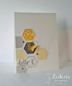 Stampin' Up! ... hand crafted greeting card from ZoKris ... hexagons in yellow and shades of gray ... pretty in one layer ...