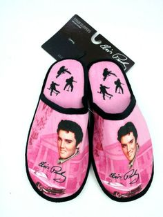 Elvis Presley Slip On Pink Cadillac With Guitar Slippers One Size Fits Most New