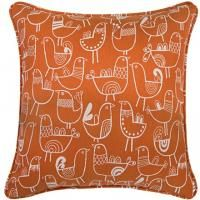 """""""Putting a Bird on It"""" since...well, who can remember @Donna Root TV 18"""" x 18"""" Pillow in Bird Flock Vintage Orange & Cream"""