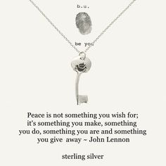 """Sterling silver peace quote key necklace. The key has a dove bird engraved on the base of the key charm. The gift card has a quote from John Lennon: """"Peace is not something you wish for: it's somethin"""