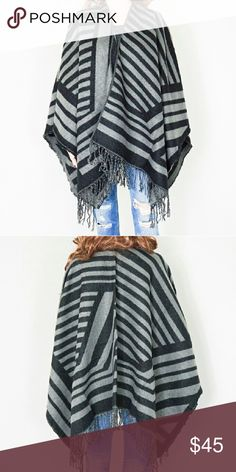 "Striped Fringed Poncho New. 25"" width x 56"" length. One size fits all. Feels plush, soft and comfy. Light weight. 100% acrylic. Color: black/gray Same day shipping. 20% bundle discount for 3. Sweaters Shrugs & Ponchos"