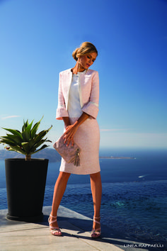 Linea Raffaelli 181 SET 66 modern mother of the bride or mother of the groom outfit is a Chanel-inspired dress and jacket in blossom pink. Mother Of Bride Outfits, Mother Of Groom Dresses, Bride Groom Dress, Groom Outfit, Mother Of The Bride, Bride Dresses, Occasion Wear, Elegant Outfit, Outfits