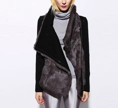 Rabbit Fur Patch Leather Jacket