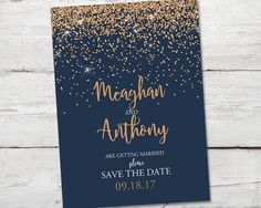 Navy and Copper Save the Date, Wedding Announcement, PRINTABLE Save the Date Announcement, Rose Gold Save the Date