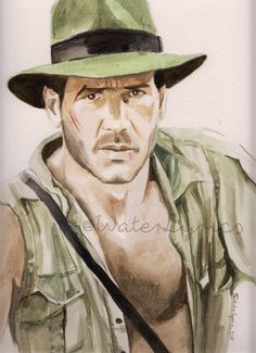 Indiana Jones Watercolor by WaterLyrics Harrison Ford