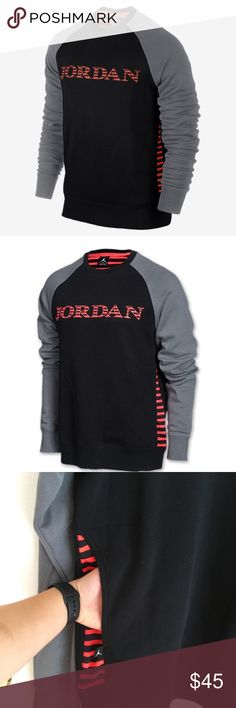 Jordan AJX Accomplished Sweatshirt size L men's Great condition The Jordan AJX Accomplished Men's Sweatshirt is made with a soft cotton blend and raglan sleeves for comfort and freedom to move. Signature graphics and contrast details offer an athletic look inspired by a hoops /Fabric: Body: 78% cotton/22% polyester. Insets: 100% polyester./Rib crew neck  Contrast raglan sleeves for natural range of motion and style, Side pockets for storage and to keep hands warm Rib cuffs and hem for a…