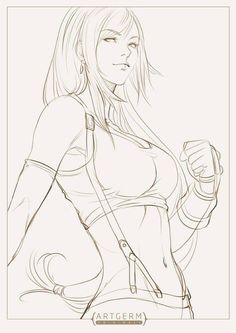 Tifa lines pin-up art by Artgerm Arte Final Fantasy, Fantasy Kunst, Pencil Art Drawings, Cool Drawings, Drawing Faces, Comic Kunst, Comic Art, Manga Drawing, Drawing Sketches