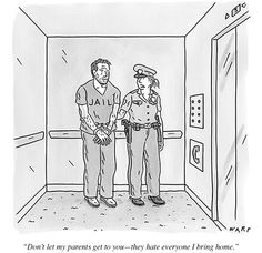 Drawing - A Female Cop Is Holding A Handcuffed Male by Kim Warp , Relationship Cartoons, Cartoon Smile, Female Cop, Hate Everyone, New Yorker Cartoons, Guy Drawing, Law And Order, Cartoon Memes, The New Yorker
