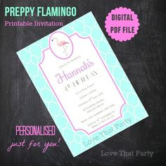 PREPPY FLAMINGO INVITATION, Printable, Personalized, Turquoise, Girl Invitation, Flamingo Party, Flamingo Birthday, Pink Flamingo, Diy Print by LoveThatPartyInvites on Etsy