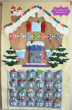 Gingerbread House Advent Calendar Pattern 24 by thelullabyloft Lebkuchenhaus Adventskalender Muster Christmas Countdown, Felt Christmas, Christmas Time, Christmas Crafts, Christmas Decorations, Christmas Ornaments, Ornaments Image, Gingerbread Ornaments, Gingerbread Christmas Decor