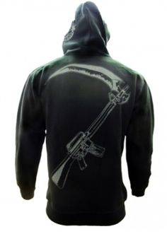 8d75576b77 Buy Sons of Anarchy Reaper Crew Hoodie at the FX Shop! Features the  rifle scythe on the back