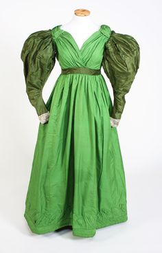 Dress, 1830's. Look how modern this would be without those sleeves and the bottom decoration.