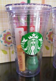 For Jem | Use a Starbucks cup, put a Starbucks voucher, lip balm/lucas pawpaw, some candy into it