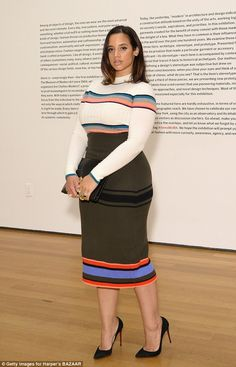 She's got a killer figure:Dascha Polancoenvy-inducing curves on display in a striped for...