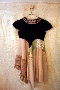 Boho Shirt, Shabby Chic Romantic, Bohemian Junk Gypsy Style, Mori Girl, Lagenlook, Cowgirl Country Girl Chic
