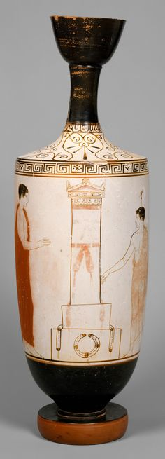 Terracotta lekythos (oil flask)      Attributed to the Achilles Painter  Period:     Classical  Date:     ca. 440 B.C.  Culture:     Greek, Attic