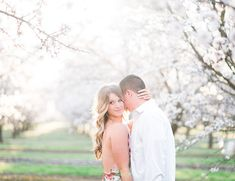 With almond blossoms surrounding them from all angles, this beautiful couple had an awe inspiring backdrop for their orchard engagement photos!