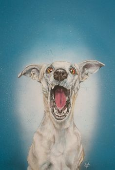 Dog painting dog art on canvas The Scream by VictoriaColemanArt