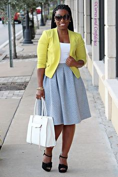 Work Wear Staple: The Midi Skirt| Curvy Outfit Ideas | Petite Outfit Ideas | Plus Size Fashion | Summer Fashion | OOTD | Professional Casual Chic Fashion and Style Inspiration
