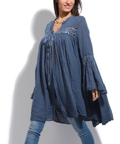 8ccfeaa6d6 Take a look at this La Fille du Couturier Blue Linen Bell-Sleeve  Crochet-Accent Tie-Front Cardigan today!