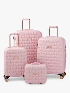 Take off in feminine style with the Moulded Beau suitcase from Ted Baker. Adorned with moulded bows, this suitcase features bespoke Ted Baker hardware in a rose gold finish and four smooth rolling spi - The Luxury Mindset For Success Pink Luggage, Cute Luggage, Luggage Sets, Luggage Brands, Large Suitcase, Pink Suitcase, Suitcase Decor, Suitcase Table, Suitcase Storage