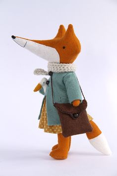 Gorgeous fox in little blue coat with goose! Great for toddlers room or just for decoration. It's something retro over it - so nice.