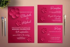 Paper Flowers Wedding Invitation by Incredible Wedding on @creativemarket