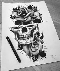 663 Likes, 1 Comments - Твой эск. Skull Tattoo Flowers, Skull Rose Tattoos, Skull Sleeve Tattoos, Body Art Tattoos, Skull Thigh Tattoos, Blackwork, Kunst Tattoos, Tattoo Drawings, Skull Tattoo Design