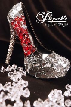 Be Wed Mirror Glass Custom High Heel Pumps with Swarovski Crystals and RED fire gems shoes-funky-and-fantastic High Heel Pumps, Pumps Heels, Red Heels, Fairy Shoes, Steampunk, Designer High Heels, Kinds Of Shoes, Womens High Heels, Wedding Shoes