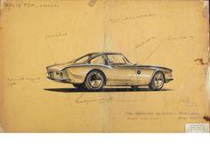 1961 Studebaker Avanti Concept Design Sketch by Raymond Loewy Car Design Sketch, Car Sketch, Icon Design, Design Art, Graphic Design, Raymond Loewy, Le Manoosh, Doodle, Concept Draw