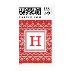 Sweater Weather   Monogram Holiday Postage - holidays diy custom design cyo holiday family