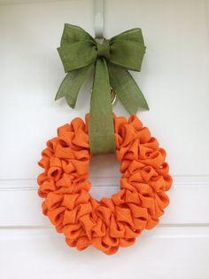 "10"" Orange Burlap ""Pumpkin"" Wreath with Green Burlap Bow Hanger, Fall Wreath, Thanksgiving Decor, Harvest on Etsy, $40.00"