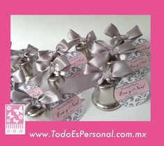 campanas para boda de metal plata con moo plata y tarjeta c