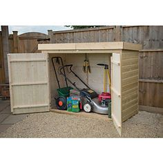 Forest Garden 6 ft x 3 ft Shiplap Pent Large Outdoor Store Outdoor Storage Units, Outdoor Bike Storage, Tongue And Groove Timber, External Double Doors, Hidden Door Hinges, Shiplap Cladding, Apex Roof, Timber Boards, Outdoor Buildings