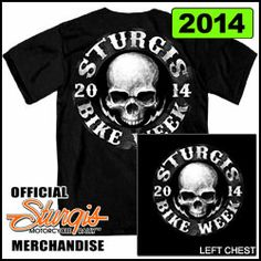 "Official 2014 Sturgis Motorcycle Rally T-Shirt ""Skull Circle"" on Black"