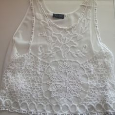 ASTR sheer open back lace white tank Sheer tank top from ASTR with loose open back, worn once in excellent condition, lightly cropped ASTR Tops