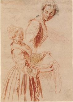 Antoine Watteau, 1684-1721, French, Two women, early 18th century.  British Museum.  Rococo.