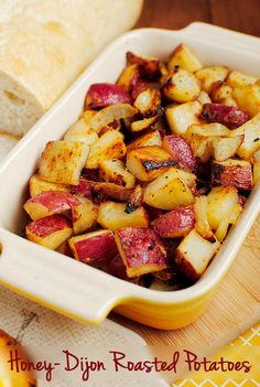 Honey-Dijon Roasted Potatoes is my new favorite side to serve with dinner. Definitely not too mustardy! | http://iowagirleats.com/2012/11/07/apple-cheddar-chicken-tartines-with-honey-dijon-roasted-potatoes/