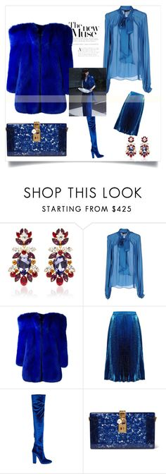 """""""Blue Muse"""" by tsma ❤ liked on Polyvore featuring Dolce&Gabbana, John Richmond, Yves Saint Laurent, Christopher Kane and Aquazzura"""