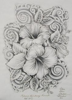 Hibiscus | sketched and detailed. not cartoon-ish. Like it