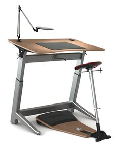 The Locus Workstation. I spend much of my day typing, drawing, and wriggling around in an interesting sit/stand position at this desk. Office Furniture, Office Decor, Home Furniture, Furniture Design, Home Office, Office Ideas, Table Desk, Desk Chair, Work Cubicle
