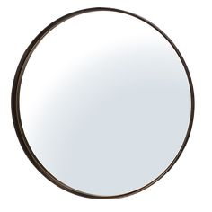 This large, round statement mirror is simple in form and bold in looks. It has a sleek metal frame with an aged bronze finish.  84cm diameter.