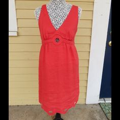 Orange(reddish hue) Calypso Linen Dress Size S Bright and comfortable orange linen dress with eyelet cutouts at bottom and keyhole in front.  Light, airy and comfortable. Calypso St. Barth Dresses